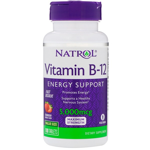 Витамин В12, вкус клубники, Vitamin B-12, Natrol, 5000 мкг, 100 таблеток