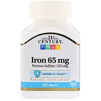 Железо, 21st Century Health Care, 65 мг, 120 таблеток