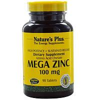 Цинк, Nature's Plus, 100 мг, 90 таблеток