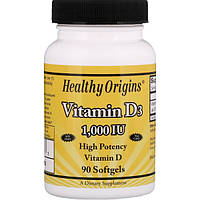Витамин Д3, Healthy Origins, 1000 МЕ, 90 капсул