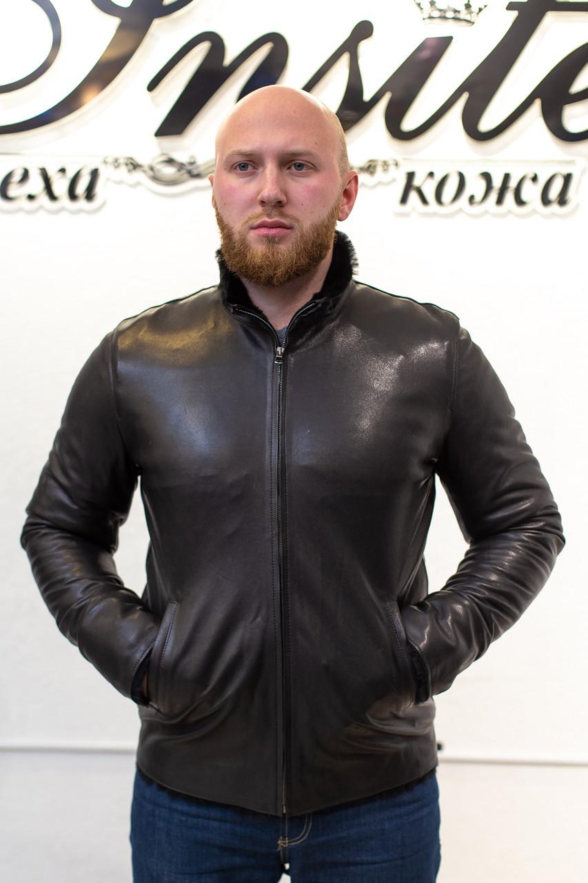 Зима Мужская Дубленка  Черная Овична 008ТДМ