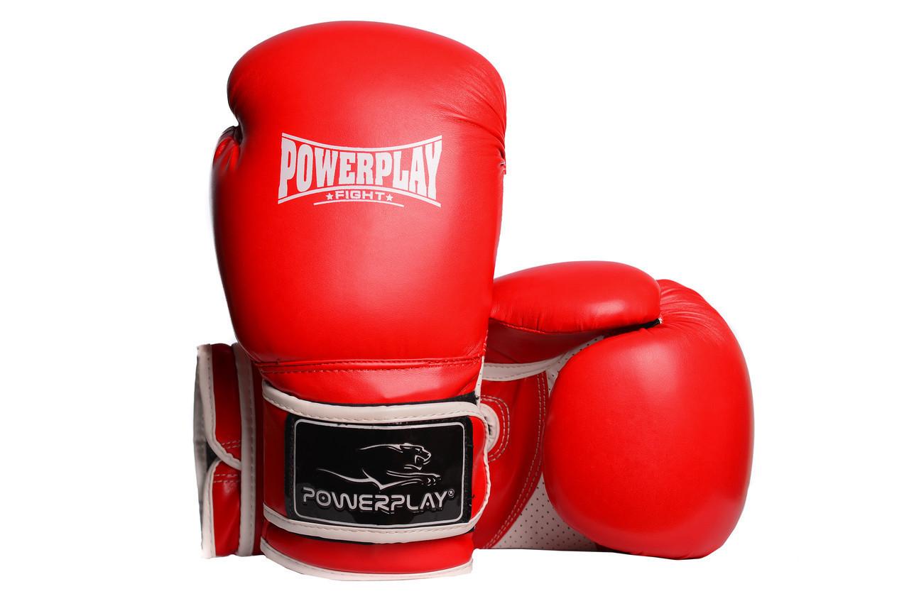 Боксерские перчатки PowerPlay 3019 красные 16 унций