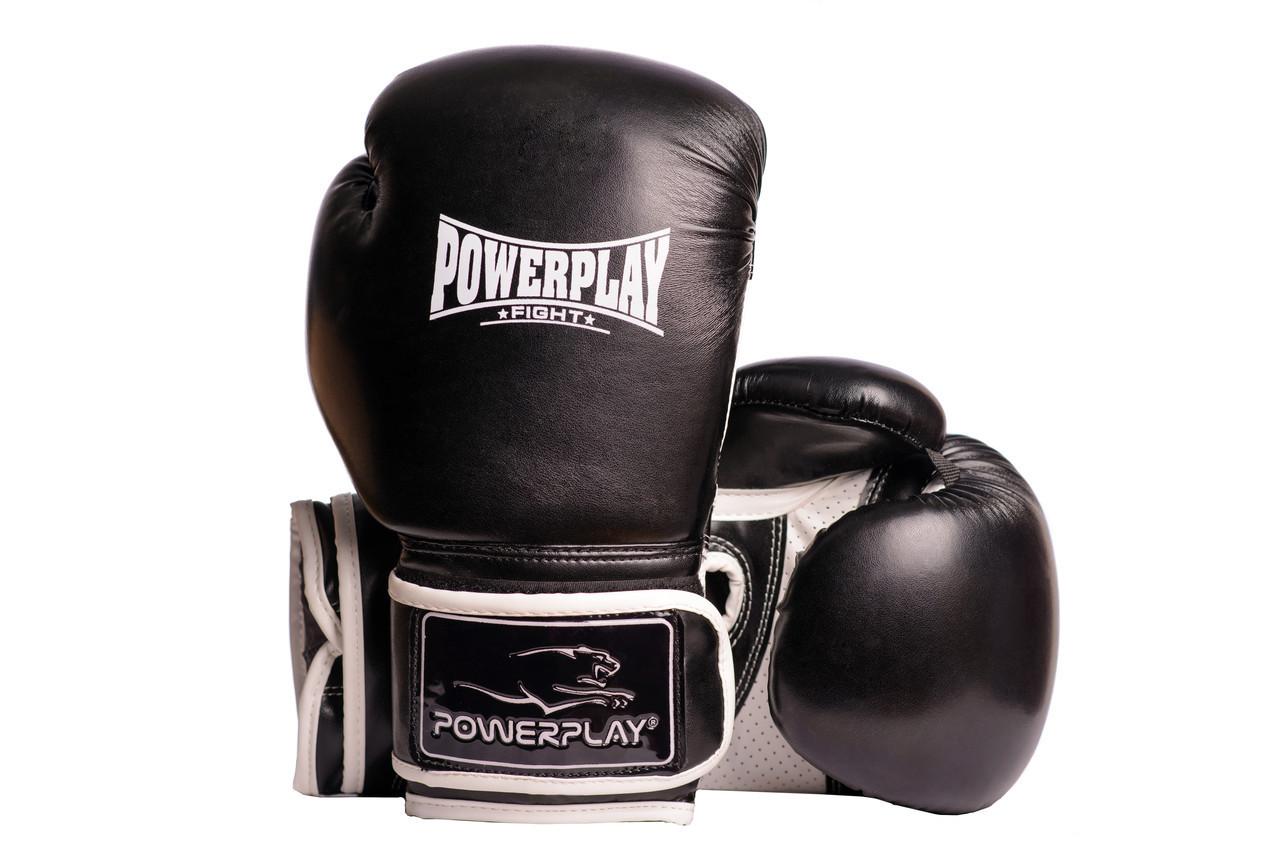 Боксерські рукавиці PowerPlay 3019 Чорні 12 унцій