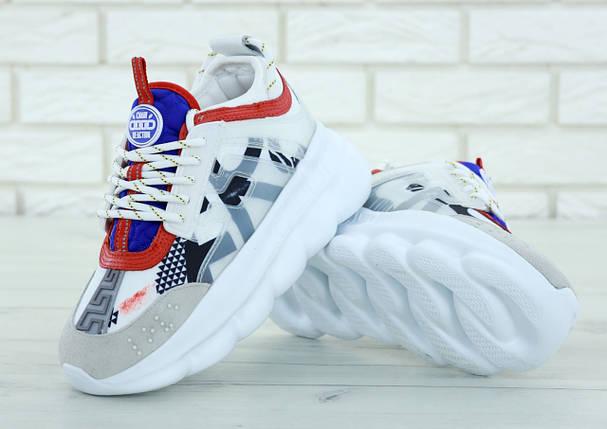 Кроссовки женские в стиле Versace Chain Reaction Sneakers, замша, текстиль. Белые с серым , фото 2
