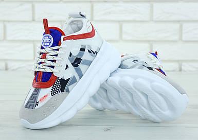Кроссовки женские в стиле Versace Chain Reaction Sneakers, замша, текстиль. Белые с серым