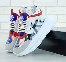 Кроссовки женские в стиле Versace Chain Reaction Sneakers, замша, текстиль. Белые с серым , фото 3