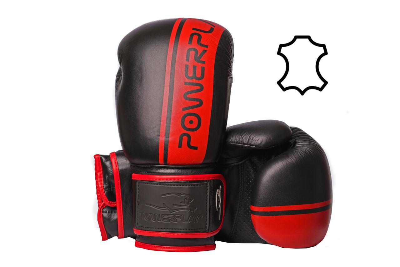Боксерські рукавиці PowerPlay 3022 Чорно-Червоні [натуральна шкіра] 16 унцій