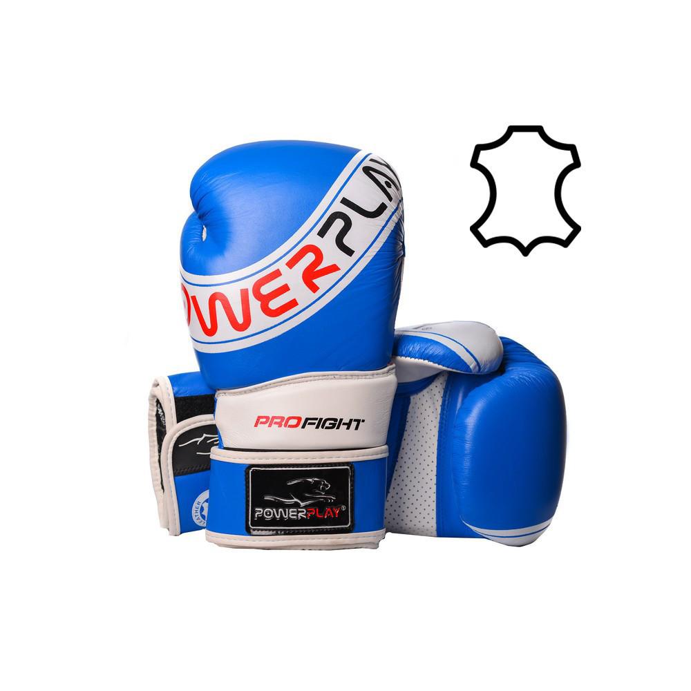Боксерские перчатки PowerPlay 3023 A сине-белые (натуральная кожа) 14 унций