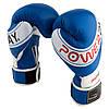 Боксерські рукавиці PowerPlay 3023 A Синьо-Білі (натуральна шкіра) 16 унцій, фото 2