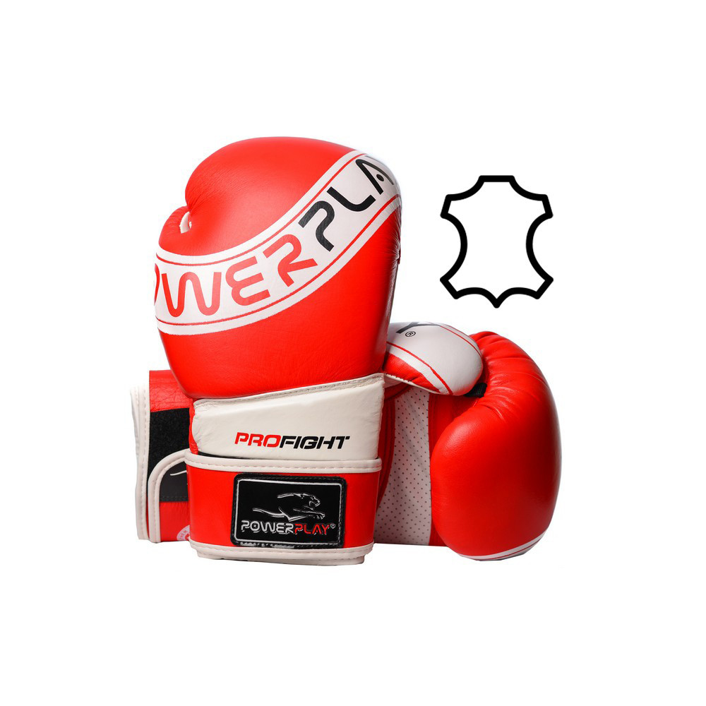 Боксерские перчатки PowerPlay 3023 A красно-белые [натуральная кожа] 12 унций