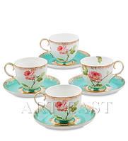 """Чайный набор на 4 персоны """"Роза"""" (Milano Rose Pavone) из костяного фарфора"""
