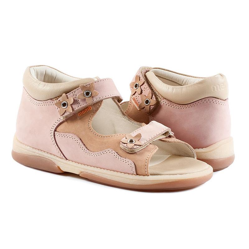 Memo Temida розово - бежевые (нубук) - босоножки ортопедические детские