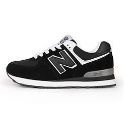 Кроссовки New Balance 574 Black White Черные мужские реплика