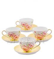 """Чайный набор на 4 персоны """"Пионы"""" (Torino Peony Pavone) из костяного фарфора"""