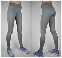 Женские безшовные спортивные лосины (норма), трикотаж/меланж, серый