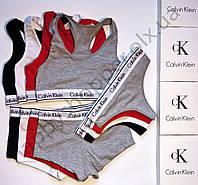 a06c18d513b8 Женский комплект нижнего белья Calvin Klein (стринги, шортики, топик)  реплика