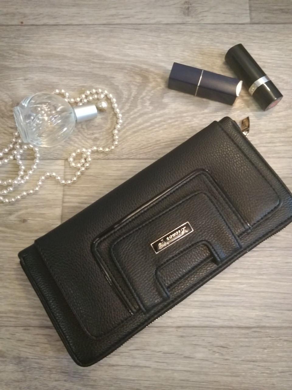 Женский кошелек-клатч черный