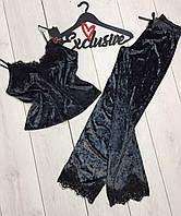 Пижамный комплект из мраморного велюра ТМ Exclusive 074- графит.
