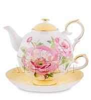 "Чайный набор ""Пионы"" (Torino Peony Pavone) из костяного фарфора"