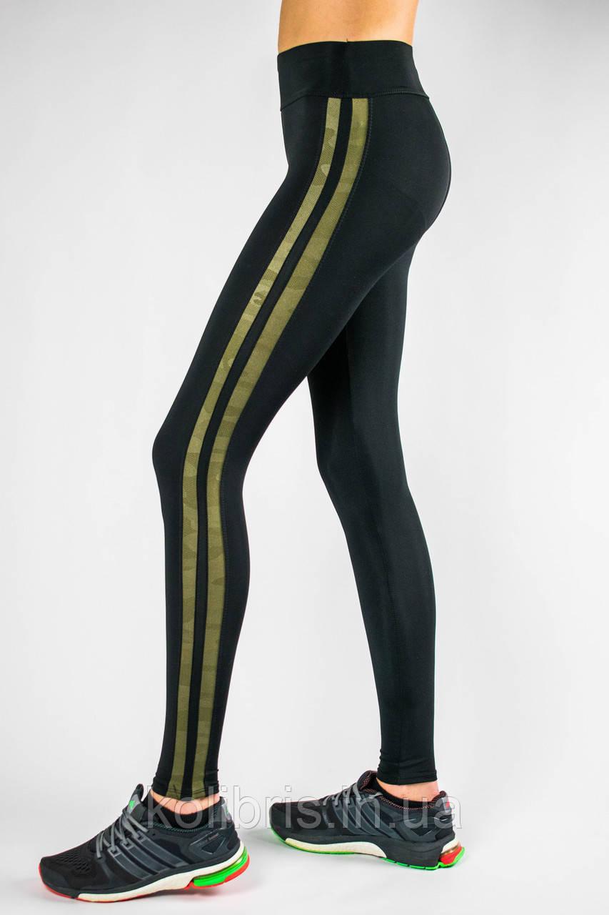 Женские спортивные лосины черные камуфл/лампас, Америка