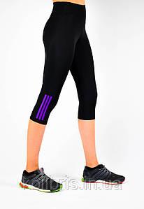 Женские спортивные бриджи, три полоски, (норма), черн/сирен, Америка