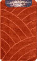 Оранжнвый терракотовый набор ковриков Турция 3Д однотонный в ванную комнату и туалет , фото 1