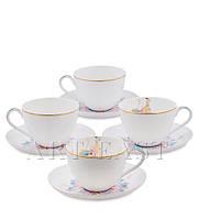 """Чайный набор на 4 персоны """"Песня Мотылька"""" (Canzone Falena Pavone) из костяного фарфора"""