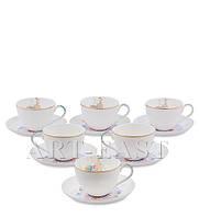 """Чайный набор на 6 персон """"Песня Мотылька"""" (Canzone Falena Pavone) из костяного фарфора"""