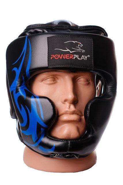 Боксерський шолом тренувальний PowerPlay 3048 Чорно-Синій XL