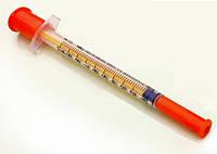 Шприц инсулиновый 1 мл U-100 с интегрированной иглой 30G (0.3*13 мм) трехкомпонентный Alexpharm