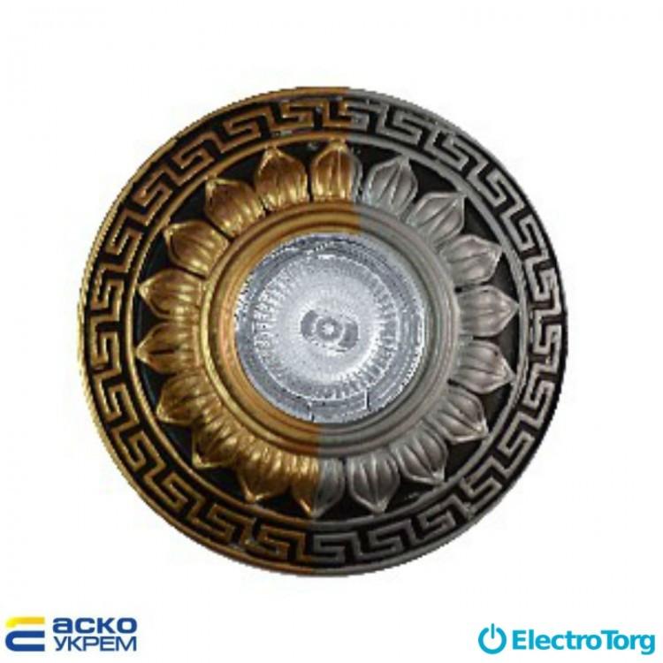 Светильник точечный (MR 16) RG072L/10 SS+SG+BK серебро+золото+черный (гипсовый), Аско