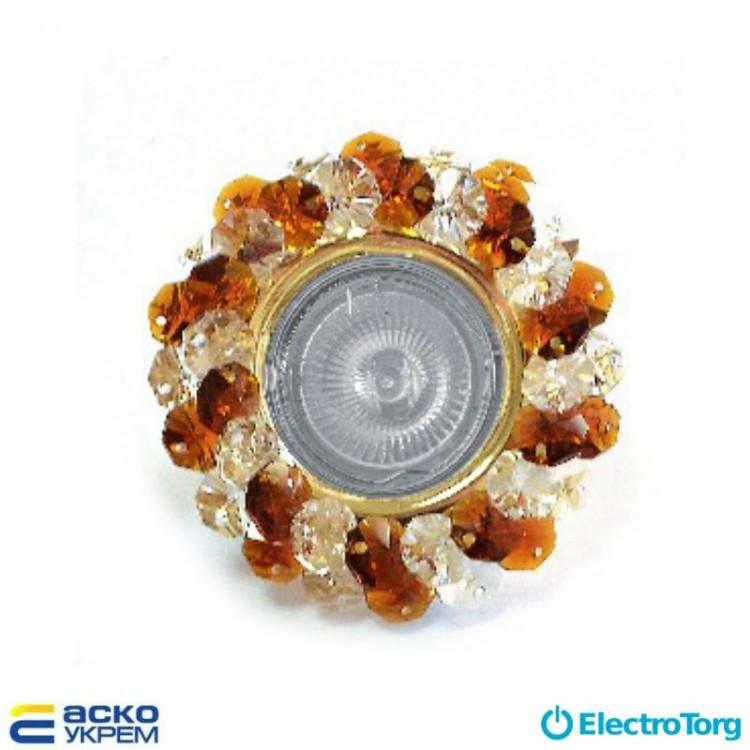 Светильник точечный (MR 16) S7083 GD+WH+T бело-коричневый, Аско