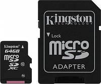 Карта памяти microSD Kingston 64GB class10 SDCX10 + адаптер