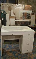 Стол для макияжа с зеркалом без рамы МДФ  Модель V325 белый