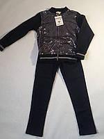 Костюм трикотажный с паетками для девочки р.4-12 F&D 12, Темно-синий