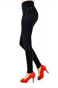 Лосины женские классические черный трикотаж на флисе размеры от 42 до 52