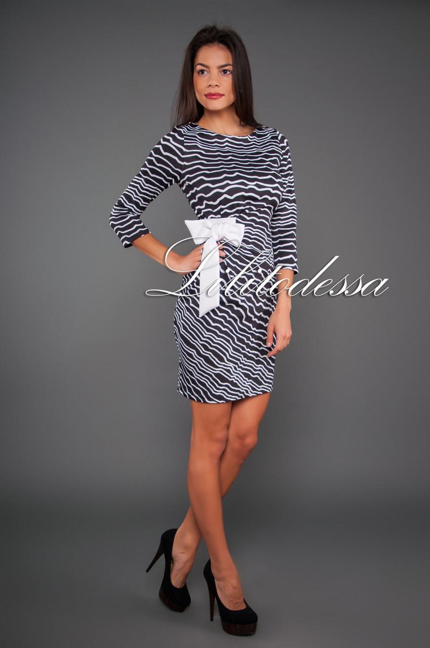 Платье с завязкой сбоку черный/белый