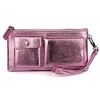 Женский оригинальный кошелек Kafa розовый металлик (J-1839)