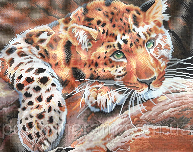 Алмазная вышивка на подрамнике Леопард