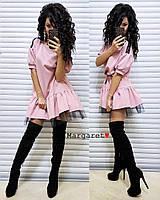Платье нарядное свободного кроя с фатином и паейтками на плечах Smmk2947, фото 1