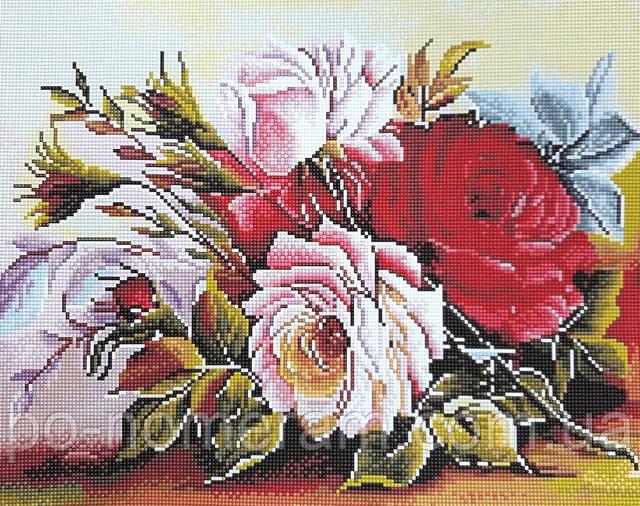 Алмазная вышивка розы на подрамнике