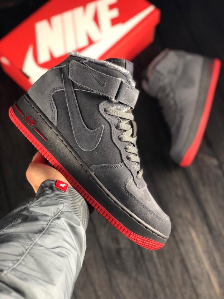 Зимние высокие замшевые кроссовки Nike Air Force