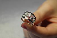 Серебряное кольцо с золотом и нежным узором