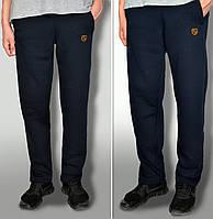 Мужские очень теплые штаны с начёсом ткань Турция цвет темно-синий карманы на замках