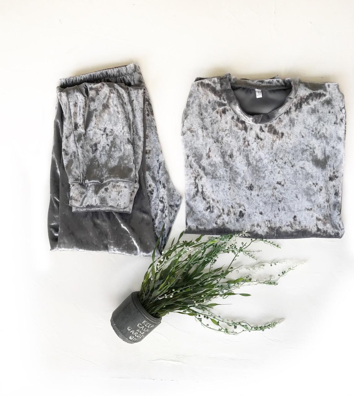 Комплект кофта и штаны L размер серебро