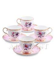 """Чайный набор на 4 персоны """"Цветок Неаполя"""" (Fiore Napoli Pavone) из костяного фарфора"""