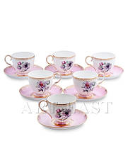 "Чайный набор на 6 персон ""Цветок Неаполя"" (Fiore Napoli Pavone) из костяного фарфора"