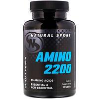 Амино 2200  90 таб белковое питание свободные аминокислоты Natural Sport USA, фото 1