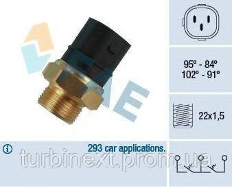 Датчик включения вентилятора VW Caddy II 1.4-1.6 95-04 (3 конт.) (102-91/95-84°C) FAE 38180