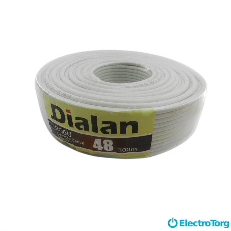 Коаксиальный кабель RG-6U 48W CCS 1.02 желтый экран 48% 75 Ом Dialan
